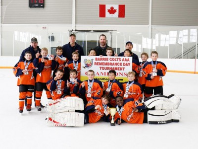 The Kanata Minor Atom A Blazers win the Barrie Remembrance Day tournament